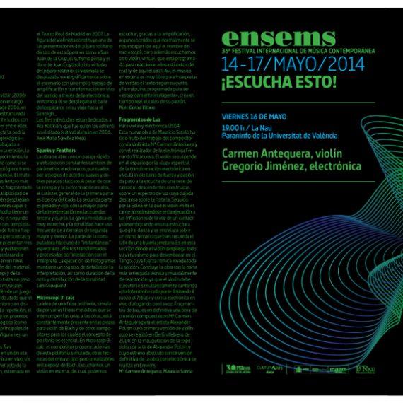 36ª Edición del Festival Ensems.- Carmen Antequera – Gregorio Jiménez