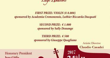 """15th International Competition """"Luigi Zanuccoli"""" for Violin"""