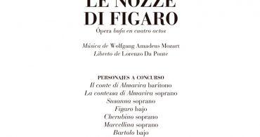 """48° Concurso Internacional para cantantes """"Toti dal Monte"""" para interpretar a los personajes de la ópera le Nozze di Figaro"""