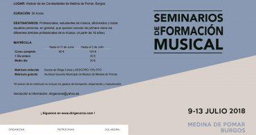 Seminarios de Formación Musical. Medina de Pomar (Burgos) 9 al 13 de julio 2018